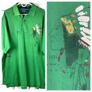 ⭐️NWT Ralph Lauren XLT Green Mohawk Polo Indian